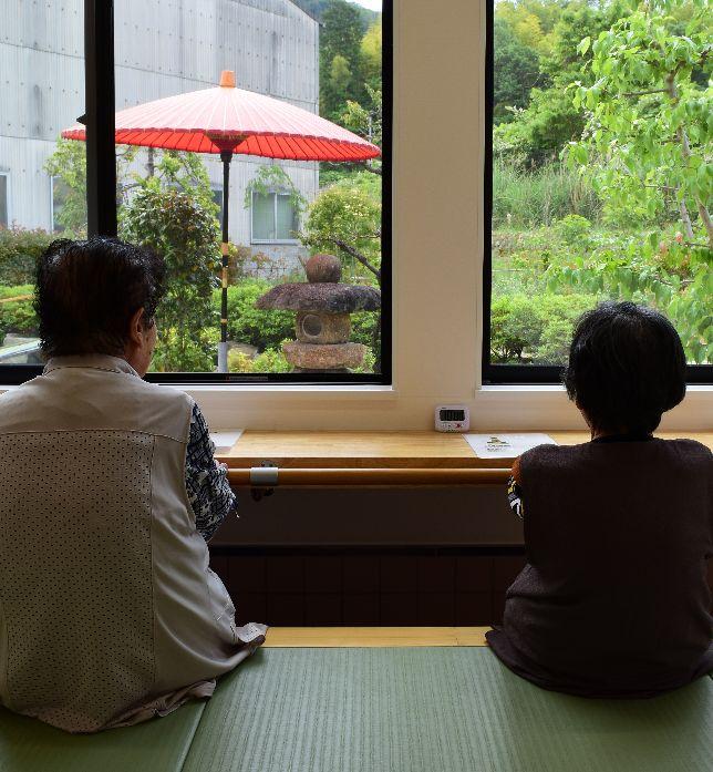 足湯から見える日本庭園